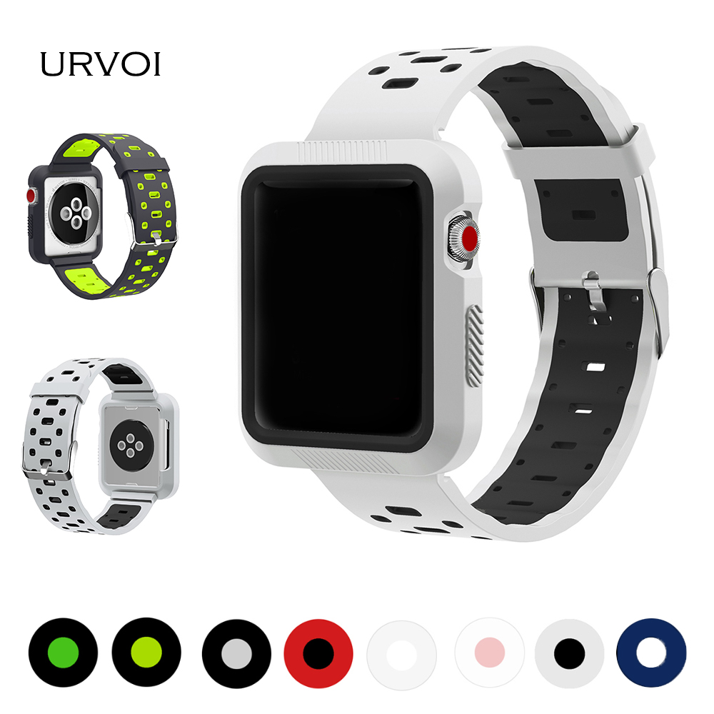 URVOI band for apple watch series 1 2 3 silicone strap with case for NIKE+watch wrist for iwatch work out double color flexible eache silicone watch band strap replacement watch band can fit for swatch 17mm 19mm men women