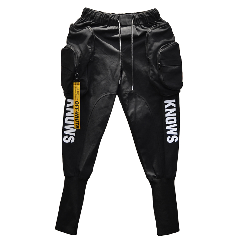 Весна Осень Хип Хоп джоггеры брюки карго шаровары мужские длинные большие карманы молнии белый черный