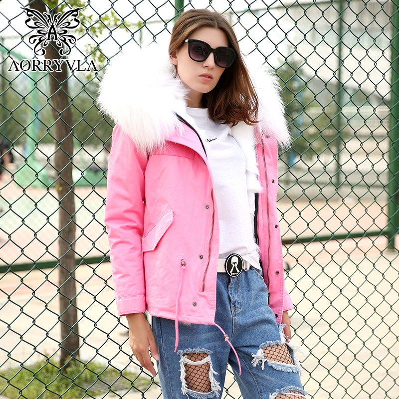 AORRYVLA Pink Fur Parka Women Winter 2017 Natural Raccoon Fur Collar Hooded Short Coat Luxurious Fox Fur Lining Winter Jacket 2017 winter new clothes to overcome the coat of women in the long reed rabbit hair fur fur coat fox raccoon fur collar
