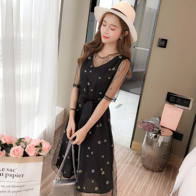 black star embroidery, short sleeved slim, slim dress, female summer student, a character , gauze fairy dress.