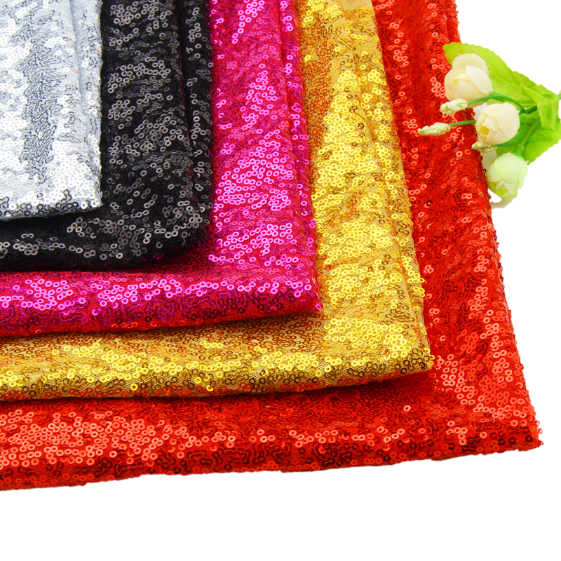 3mm Glitter Sequins Fabric Polyester Embroidered Sequins Fabric Meter Tissus For Show Dress Pillow Party Decoration