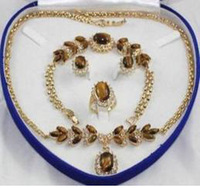 New Bridal Fashion Jewellery Women 's Necklace Bracelet Earring Ring Set more color AAA154775