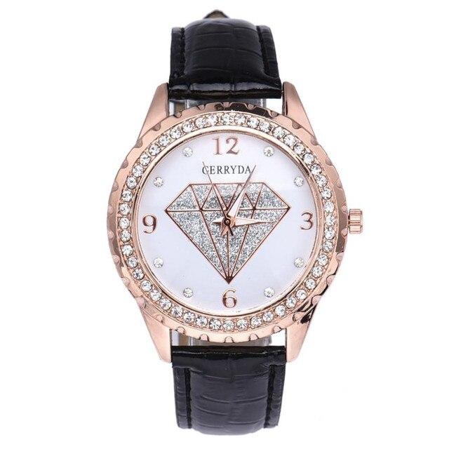 Women Contracted Fashion Rhinestone Leather belt Analog Quartz Watch elegant lad