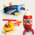 Free shipping hot sale children's toys disassemble model aircraft rocket helicopter wooden toy