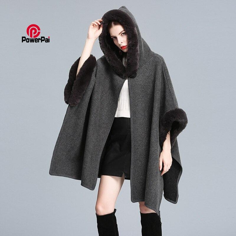 New Fashion Long Rex Rabbit Fur Hooded Cape Cloak Overcoat Wool Cashmere Shawl Pashmina Women Autumn