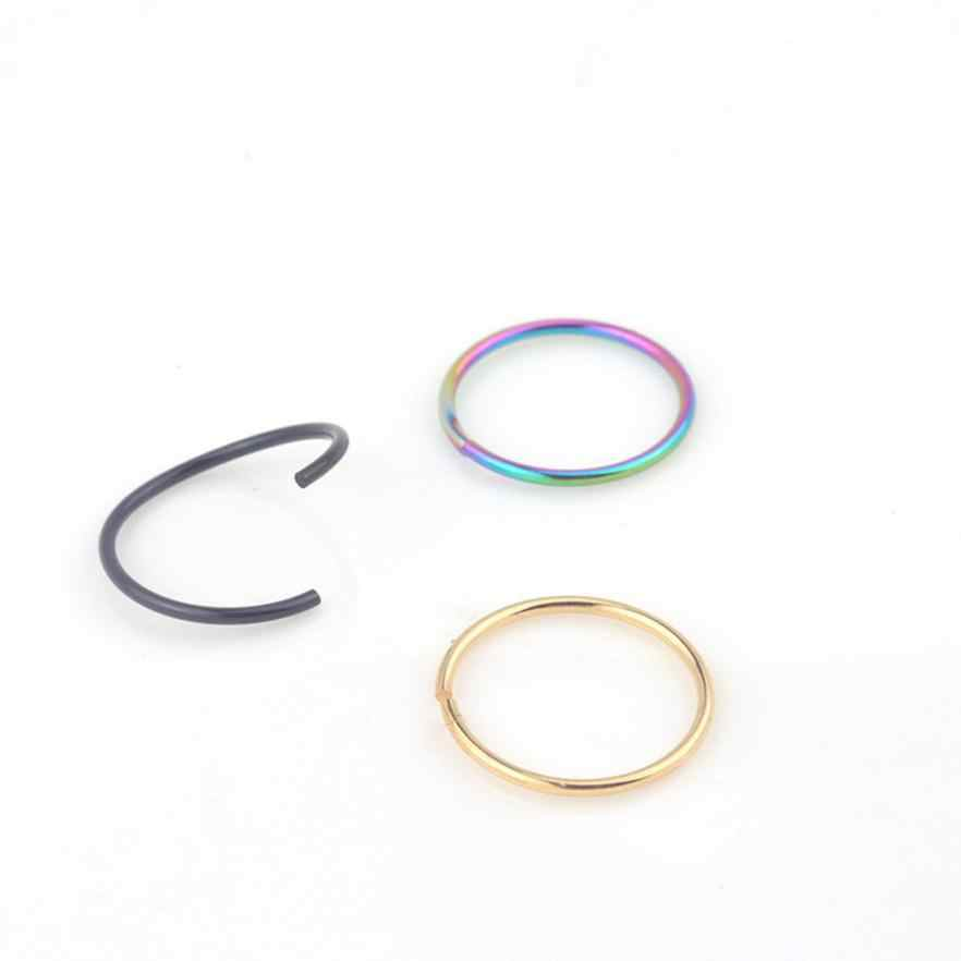 Cool Girl Women Stainless Steel Round Nose Ring Piercing Earring