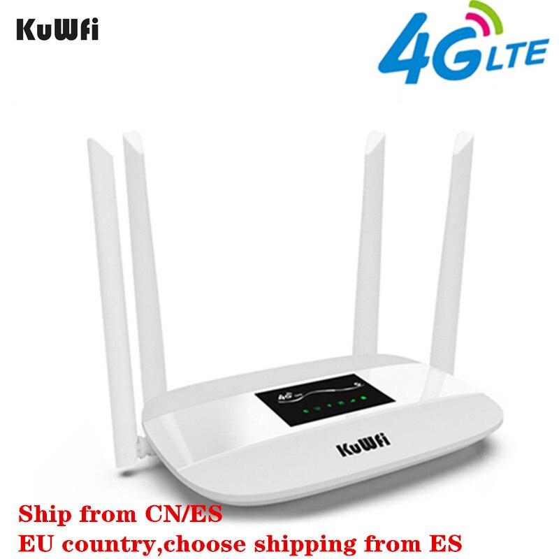 KuWFi Débloqué 4G LTE routeur sans fil 300 Mbps Intérieur Sans Fil CPE Routeur 4 pièces Antennes Avec LAN Port & SIM emplacement pour cartes jusqu'à 32 utilisateurs