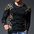 Top Fashion 3D Gold Foil T-Shirt Men Spring Tops Brand Men's Printing Long Sleeve Slim T Shirt Men Shirt Clothing Elastic Tees