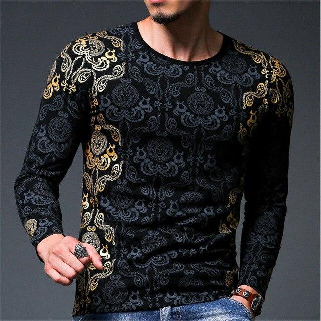 Top Fashion Folha De Ouro 3D T-Shirt Dos Homens Tops Primavera dos homens da Marca impressão de Manga Comprida Camisa Magro T Dos Homens Camisa Roupas Elastic Tees