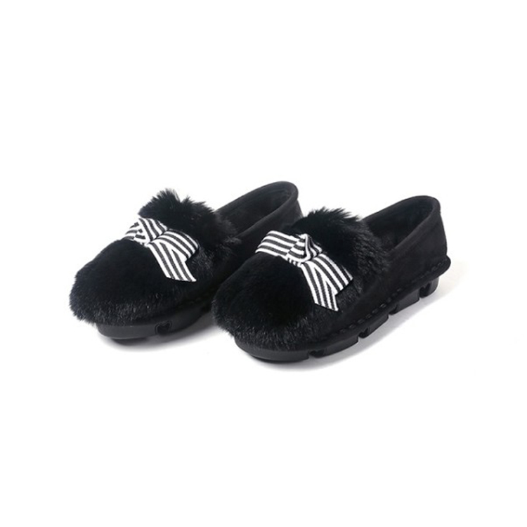 Fourrure Mljuese Appartements black 2018 Suede Lapin Confortable Bout Kid Gris Gray Couleur Rond Femmes Cheveux Printemps Chaussures zxBawdnz