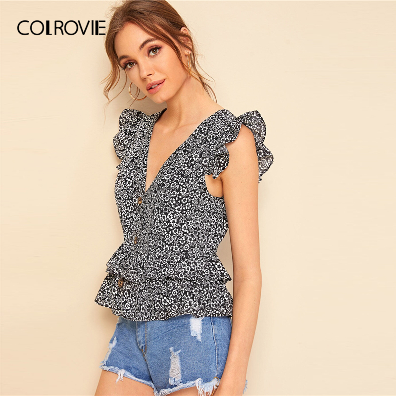 COLROVIE Black and White V Neck Ditsy Floral Button Ruffle Armhole Layered Boho   Blouse     Shirt   Women 2019 Summer Ladies Peplum Top