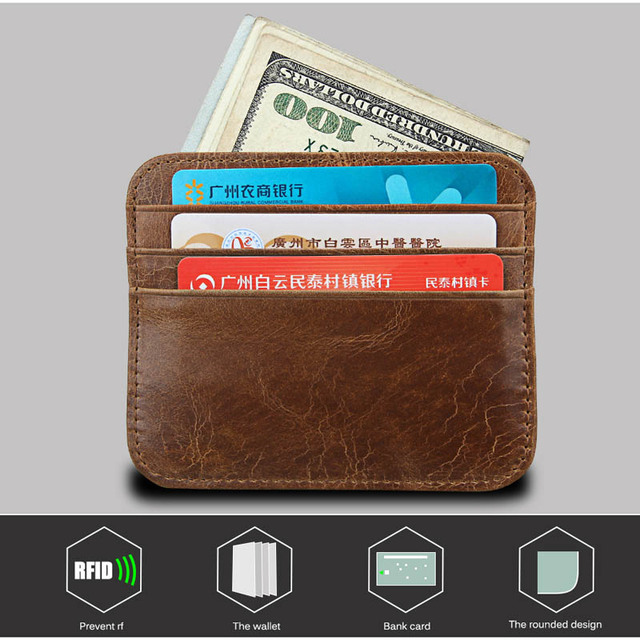 b750a4d23d7f US $3.48 29% OFF|Genuine Leather Rfid Blocking Small Bank ID Business  Credit Men Card Holder Slim Front Pocket Wallet -in Card & ID Holders from  ...