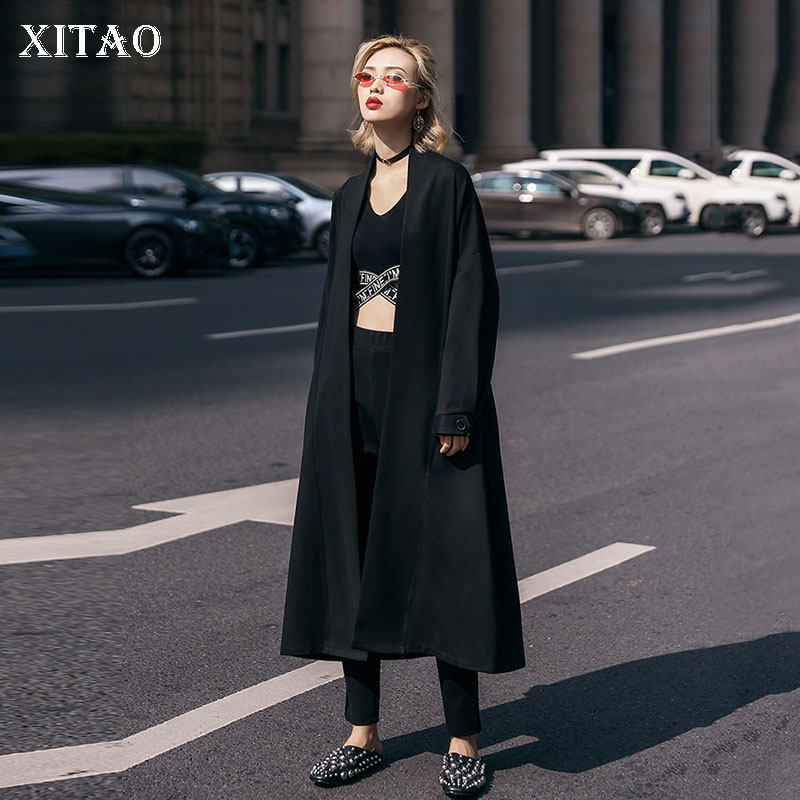 [XITAO] Open Stitch Women 2019 New Spring Summer Solid Color A-line Loose Turn-down Collar Dull Sleeve Bandage   Trench   DLL2119