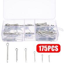 175 sztuk/zestaw Sliver Split Pins zawleczki mocowania różnych rozmiarów ocynkowana stalowa twarda obudowa Link dzielony bolec z pudełkiem
