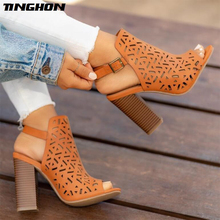 все цены на TINGHON   Sexy Women Sandals Gladiator High Heels Strap Pumps Buckle Strap Shoes Fashion Summer Ladies Shoes онлайн