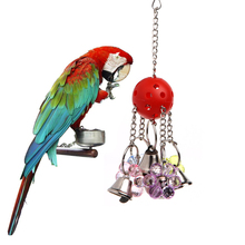 Pet Bites Parrot Bird Climb Chew Toys Bell Swing Cage Hanging Cockatiel Parakeet