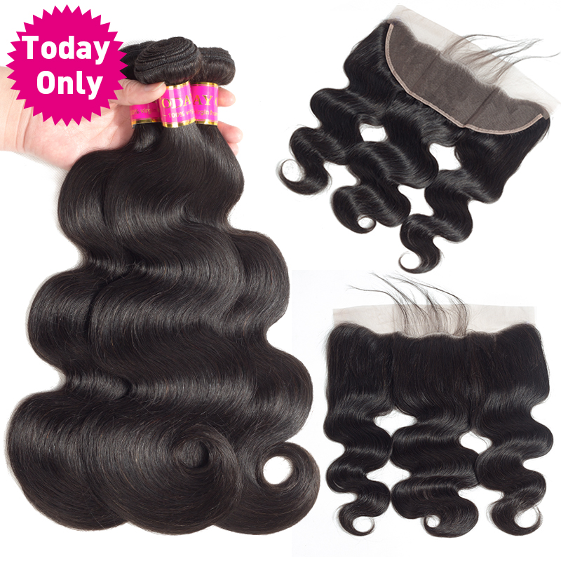 TODAY ONLY 3 Bundles With Frontal Peruvian Body Wave Bundles With Frontal Remy Human Hair