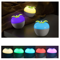 Rechargeable colorful dimmable strange bright blow on off discoloration apple blowing control ambient light portable night light