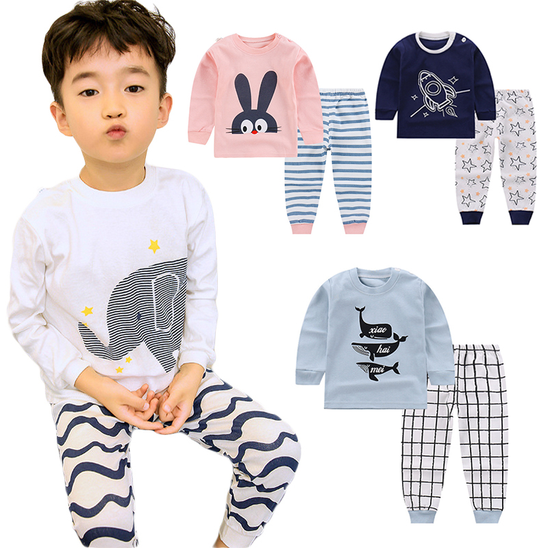 Cartoon Kids Pajamas Sets Cotton Boys Sleepwear Suit Autumn Spring Girls Pajamas Long Sleeve Tops+Pants 2pcs Children Clothing(China)