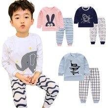 Детские пижамные комплекты с героями мультфильмов хлопковый костюм для сна для мальчиков пижамы для девочек на весну-осень топы с длинными рукавами+ штаны, 2 предмета, одежда для детей