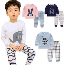 Cartoon Kids Pajamas Sets Cotton Boys Sleepwear Suit Autumn Spring Girls Pajamas Long Sleeve Tops+Pants 2pcs Children Clothing цена и фото
