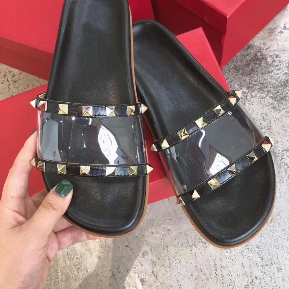 f51c5e38e ... Summer gladiator Shoes Women Rivets Studded Outdoor Beach Slippers  flipflops clear PVC Flats Slides 2018 Cozy ...