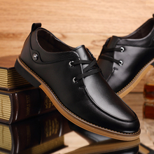 Men's business leather shoes lace tide of England to increase men genuine leather loafers flats large plus size 38-48