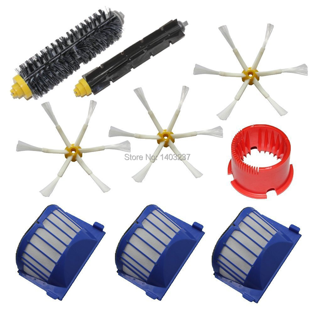 Bristle Brush Flexible Beater Brush 6-Armed Side Brush Cleaning tool Pack Kit for iRobot Roomba 600 Series (620 630 650 660) aero vac filter bristle brush flexible beater brush 3 armed side brush tool for irobot roomba 600 series 620 630 650 660