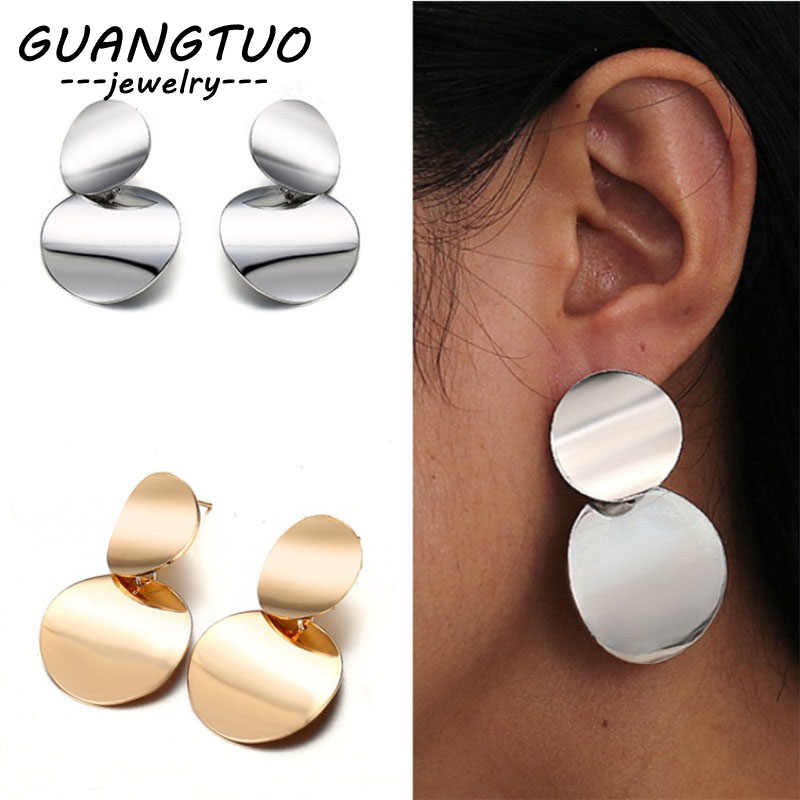 Big Brand Geometric Round Glossy Face Drop Earrings For Women Girls Fashion Ear Jewelry Cute Dangle Brincos American European