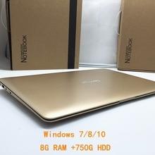 1920*1080 P 14 дюймов ноутбук windows7/8/10 ШТ. Компьютер В тел J1900 2.0 ГГЦ Quad Core 8 ГБ DDR3 750 ГБ WI-FI HDMI ВЕБ-КАМЕРА Тонкий Ultrabook
