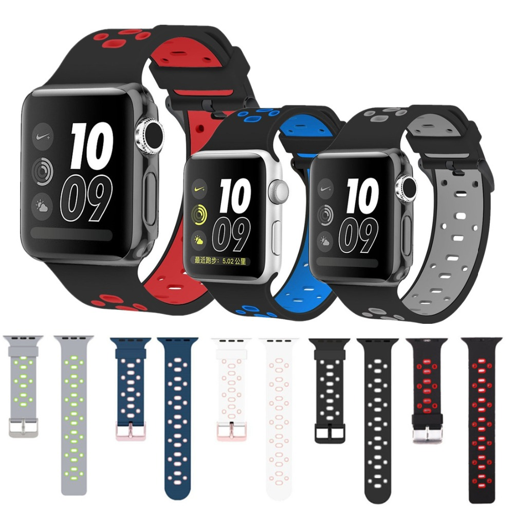 EIMO Sport Silicone strap for apple watch band 42mm/38mm bracelet wrist belt rubber watchband+ metal Adapter for iwatch 3/2/1 1 pair auto brand emblem logo led lamp laser shadow car door welcome step projector shadow ghost light for audi vw chevys honda page 4