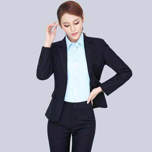 woman tie collar black costume spring office female blazer work clothes designer brand applique ladies formal