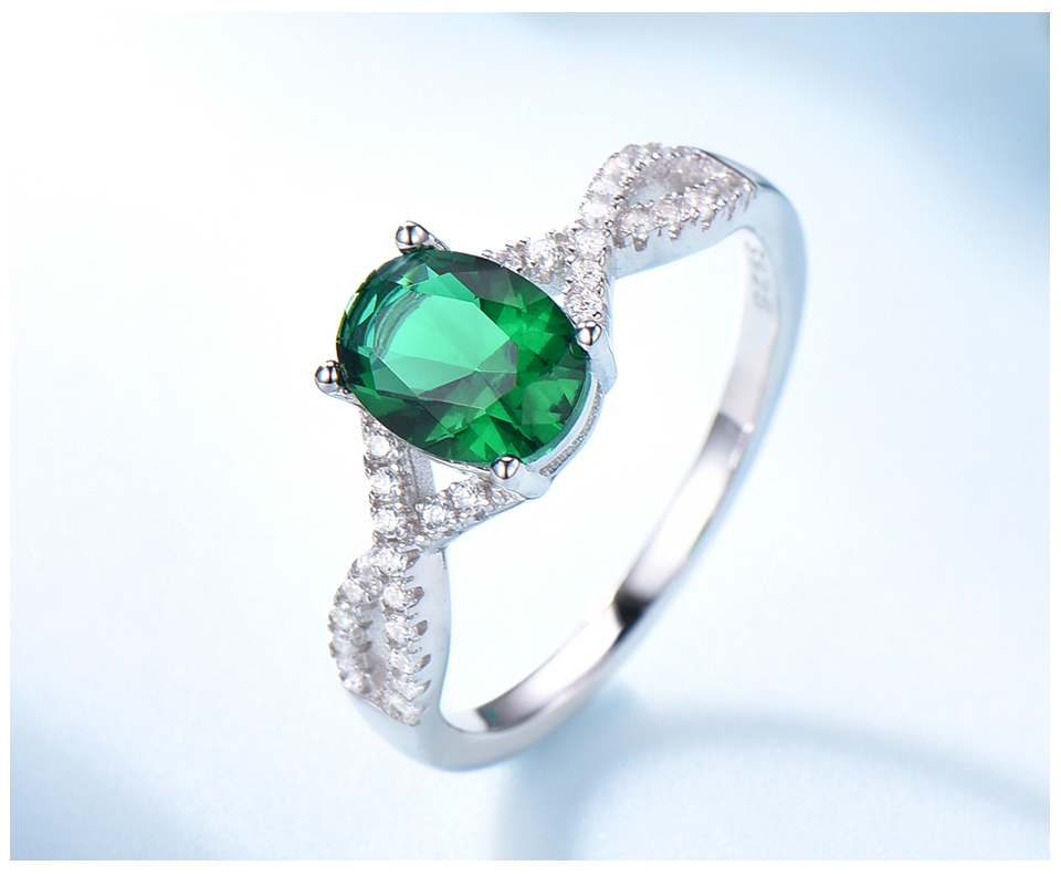 UMCHO Emerald  925 sterling silver rings for women RUJ099E-1-pc (5)