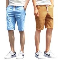 Shorts Men 2016 Summer Fashion Solid Mens Shorts Casual Cotton Slim Bermuda Masculina Beach Shorts Classic