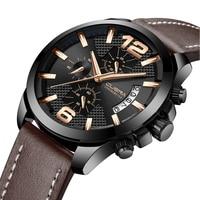 CUENA Fashion Watches Men Luxury Brand Brown Leather Strap 30m Waterproof Clock Male Analog Men S