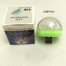 YIYANG araba USB müzik ses kontrolü lambaları renkli DJ atmosfer lamba küçük sihirli top ampul 4W DC 5V LED sahne aydınlatması
