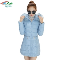 JQNZHNL Women Medium Long Thicken Down Cotton Coats 2017 New Winter Down Parkas Fashion Fur Hooded