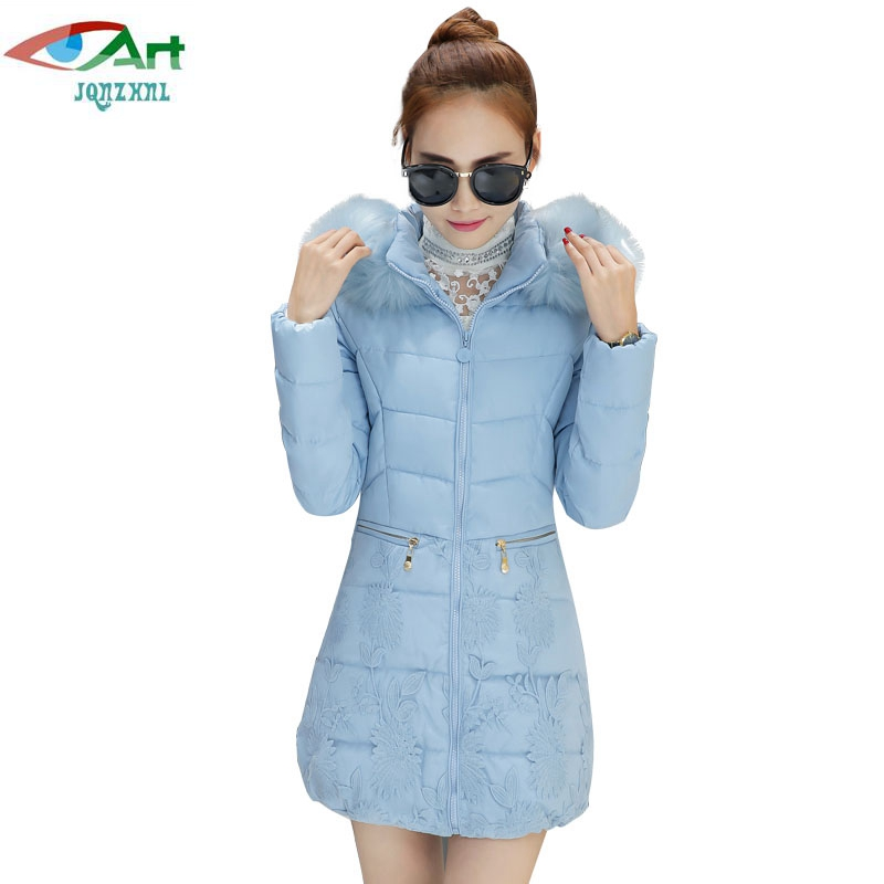JQNZHNL Women Medium Long Thicken Down Cotton Coats 2017 New Winter Down Parkas Fashion Fur Hooded Lace Cotton-padded Jacket P58 top quality fashion parent child 90% white duck down jacket medium long mother and son hooded cotton padded down family coats