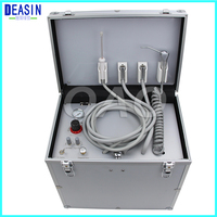 DEASIN Portable Dental Unit with High and low speed HP Pipe,3 Way Syringe, Oilless Air Compressor, Water bottle, Foot Control
