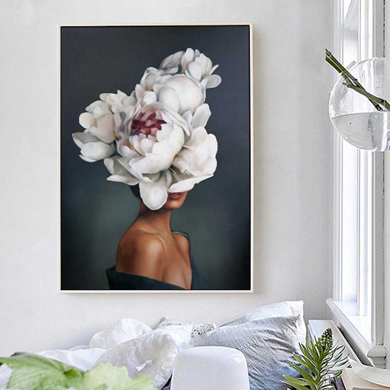 Flower Avatar Girl Canvas Painting Printed Canvas Painting Wall Art Prints Modern Style Cuadros Poster Living room decor Picture