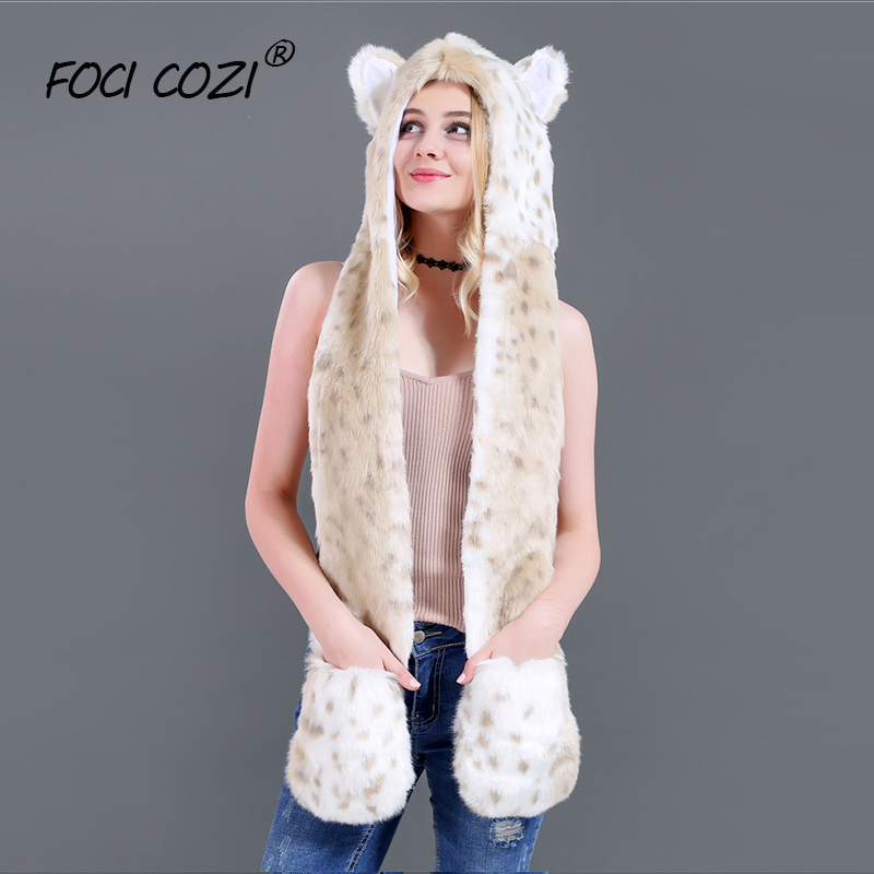 Winter Faux Fur Hood Animal Hat Ear Flaps Hand Pockets 3in1 Animal Hood Hat Snow Leopard Plush Warm Animal Cap With Scarf Gloves