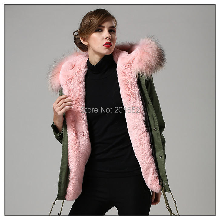 arrived trench coat faux fur lined real raccoon dog pink collar mr mrs jacket men's women's - Harve leger store