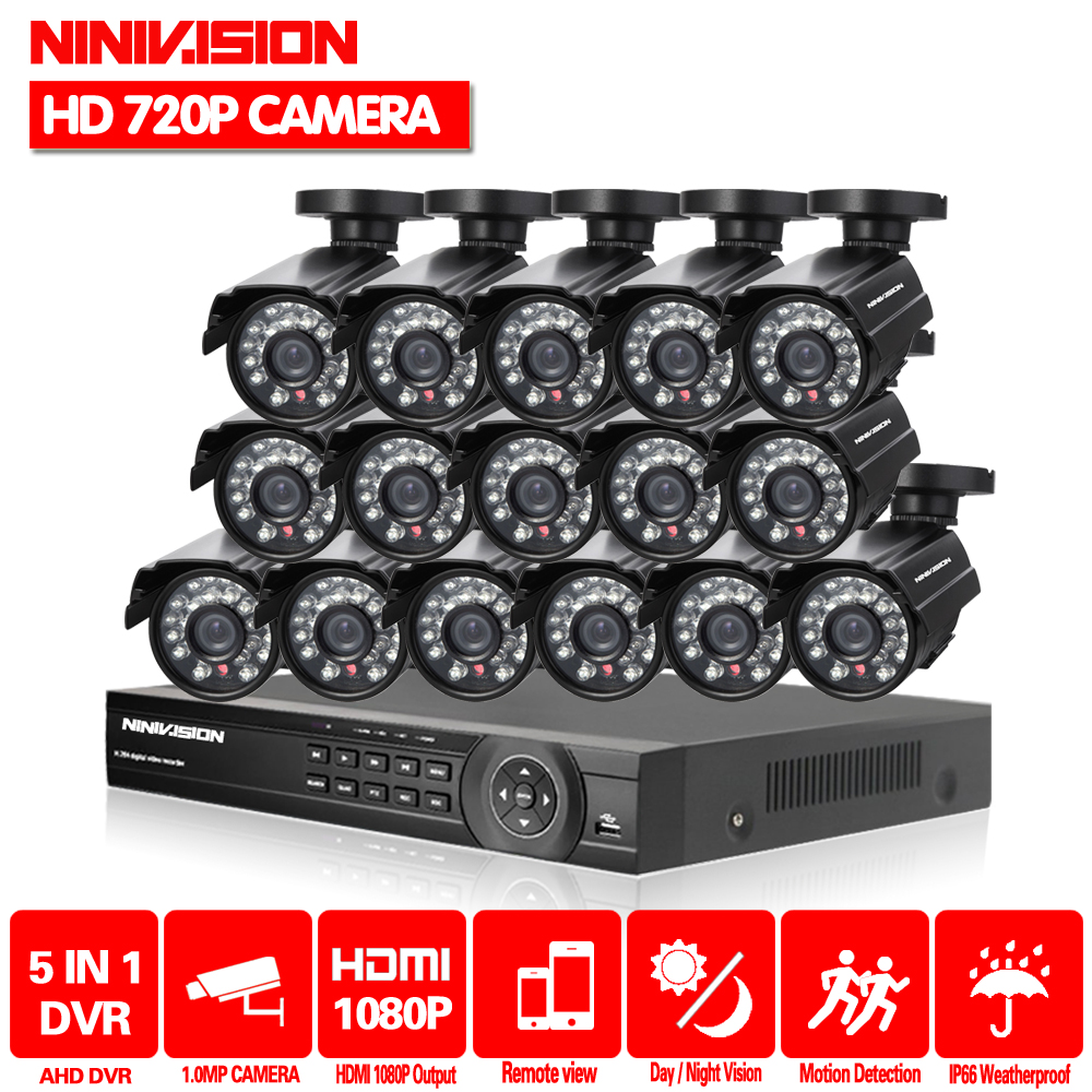 NINIVISION 16CH CCTV System AHD 1080P DVR 16CH Surveillance Security KIT With 16pcs 1.0MP Bullet AHD Outdoor Waterproof CameraNINIVISION 16CH CCTV System AHD 1080P DVR 16CH Surveillance Security KIT With 16pcs 1.0MP Bullet AHD Outdoor Waterproof Camera