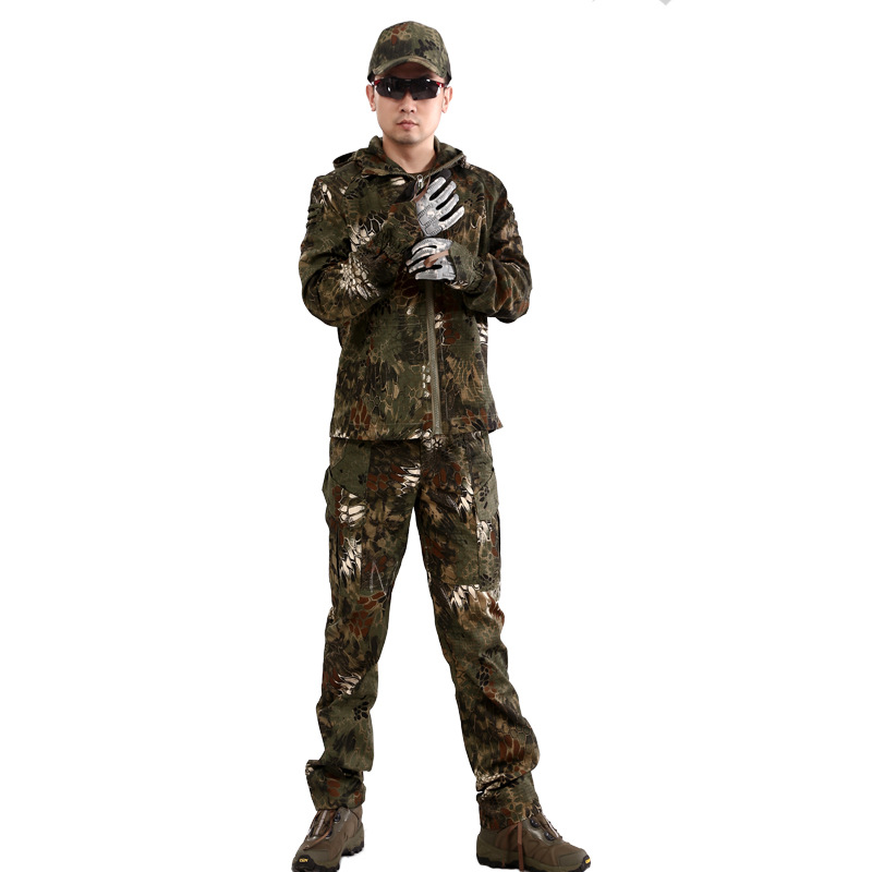 Free shipping 2016 Suit Male Python Pattern Camouflage Clothing Leisure Camouflage Clothing Set For Man