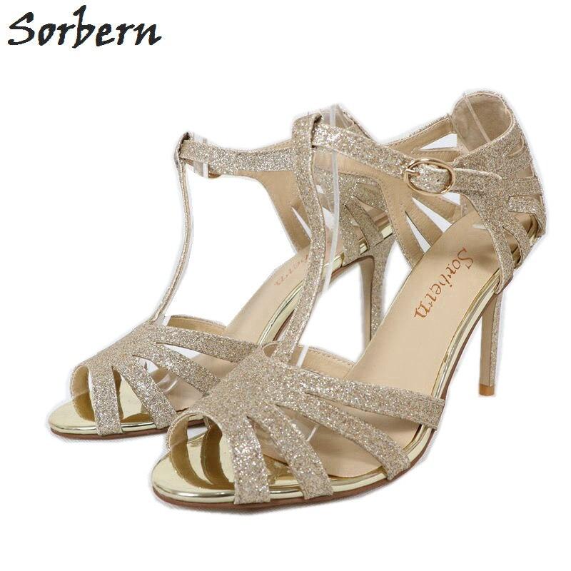 Sorbern Gold Glitter Women Sandals High Heels Wedding Shoes Thin Straps Cover Heeled Stilettos Open Toe Summer Bridal Heels