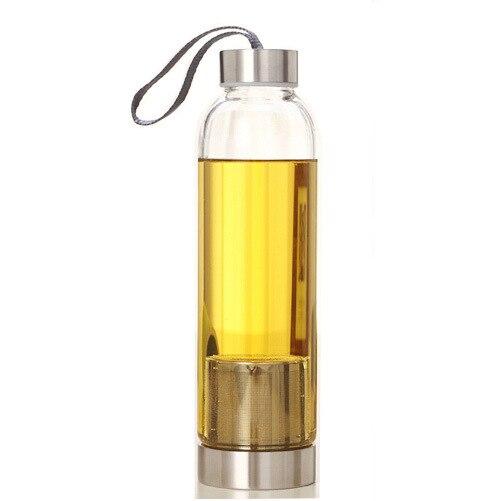 2017new Дизайн для бутылки с водой Чай Стекло молоко Бутылочки спортивные Стекло с Чай фильтр для заварки Защитный пакет 420/550 мл открытый