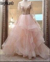 Robe de soiree Cinghie Manica Lunga Lace Ruffle Tulle Appliqued V Neck Prom Dress Pageant Backless Abito Da Sera Formale Più formato