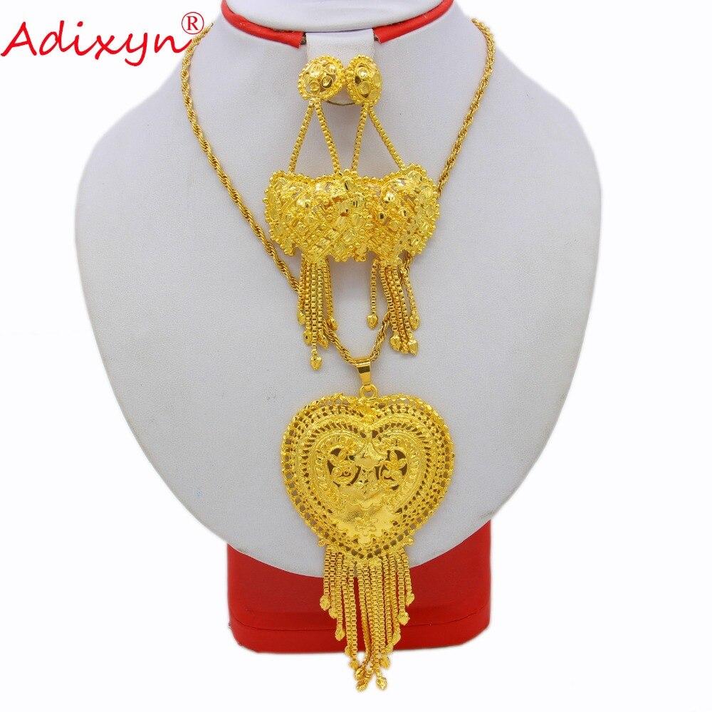 Adixyn coeur pendentif Dubai bijoux ensemble or couleur collier boucles d'oreilles ensemble de luxe arabe africain fête de mariage maman cadeaux N12172