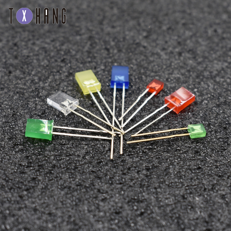 100pcs 2x5x7mm Diffused Green Light Rectangle Rectangular Square LED Diodes USA
