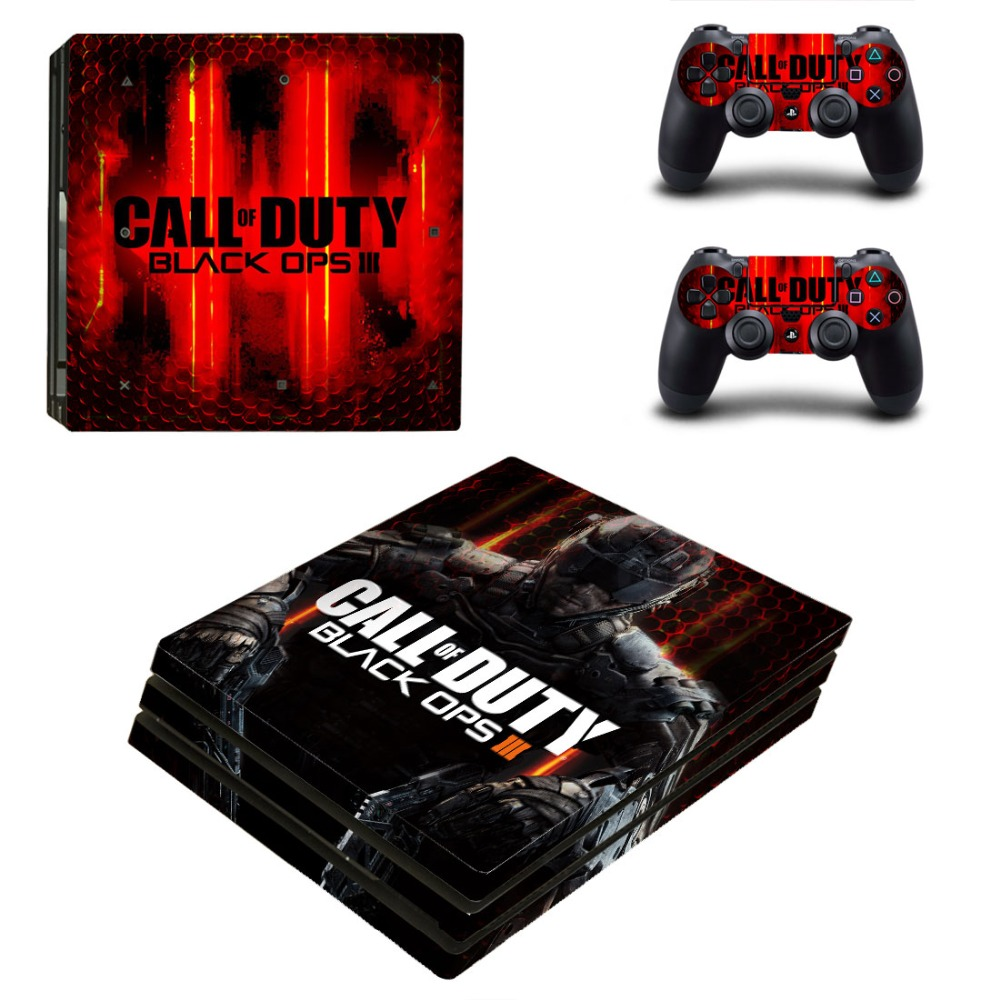 PS4 PRO Call of Duty Black OPS III for Playstation 4 PRO Console Skin Decal Sticker + 2 Controller Skins Set (Pro Only)